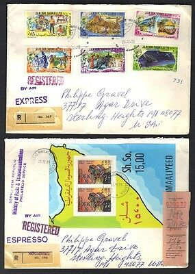 SOMALIA 1980s 10 REG EXPRESS MAIL CVR BEARING DIFF SETS INC S/S ALL ADDRESSED TO