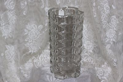 France Vintage Geometric Optic Clear Glass VASE Heavy Large 9 1/4""