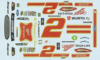 #2 Brad Keselowski Miller High Life 2015 1/24th - 1/25th Scale Decals