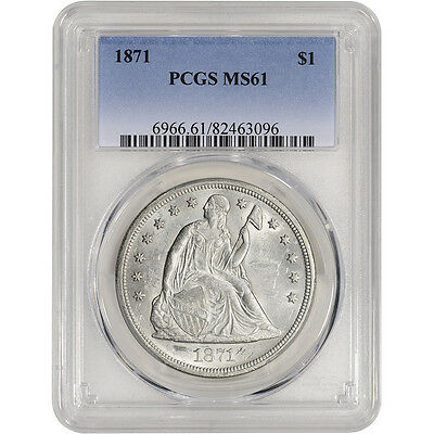 1871 US Seated Liberty Silver Dollar $1 - PCGS MS61 - Nice Luster