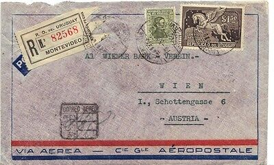 URUGUAY AUSTRIA 1933 AIR MAIL REG. MONTEVIDEO FRANKED $1.50 PEGASUS Sc. #C56 TO