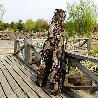 Dersert Camo Fishing Rod Bag Outdoor Sports Travel Double Layer Gear Pouch Pack