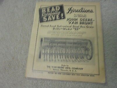 Vintage 1943 John Deere Van Brunt Drill Directions for Setting Up and Oper