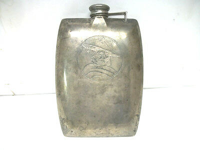 Antique International Sterling Silver CW 1/2 Pint Hip Flask w / Scotch Smile
