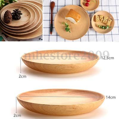 12/14cm Round Wooden Plate Breakfast Food Snack Serving Tray Salad Bowl Platter
