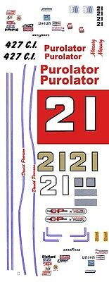 #21 Wood Brothers Purolator 1968-73 1/64th HO Scale Slot Car Decals
