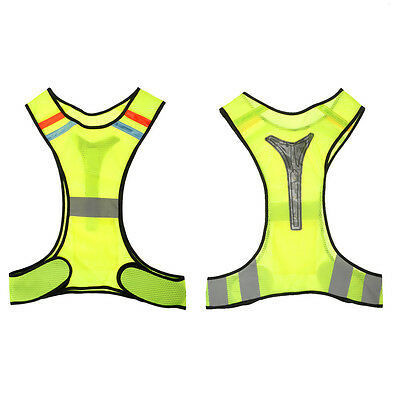 2x Running Safety High Visibility Reflective Vest Jacket with Back Led Light