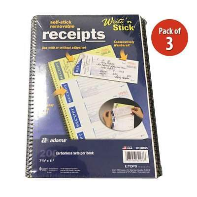 Pack of 3 Adams Write n Stick Removable Carbonless Receipt Books - 200 Count