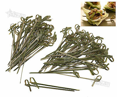 100Pcs Bamboo Knot Skewers Cocktail Sticks Ideal Canape Buffet Tableware 10cm