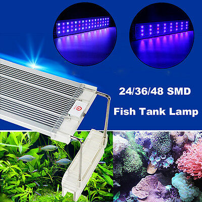 24/36/48 LED 5730 Luz Full Spectrum Acuario Peces Fish Tank Lámpara Touch Switch