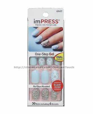 KISS imPRESS Press-On Christmas FUNKY TOWN 30 Nail+Accent BLUE+SNOWFLAKE+GLITTER
