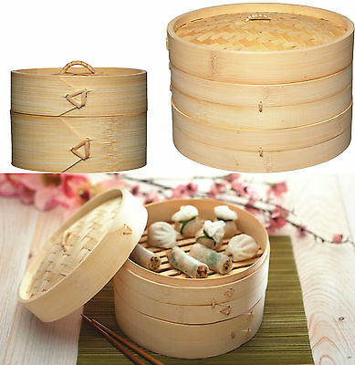 Chinese Oriental Small Medium Or Large 1 Or 2 Tier Bamboo Steamer & Lid