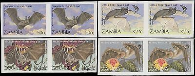 Zambia Flying Bats 4 Rare Imperf Pairs