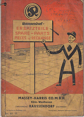 Massey Harris Combine spare parts catalogue in French, English & German
