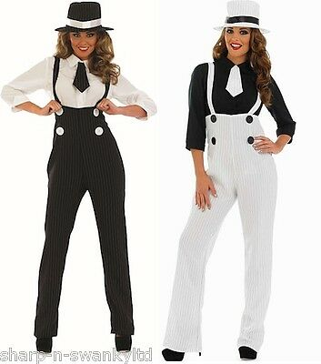 Ladies 1920s Pinstriped Gangster Trousers Fancy Dress Costume Outfit & Plus Size
