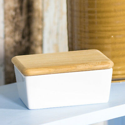 LSA White Porcelain Butter Storage Dish Wooden Lid Serving Bowl Dining Table