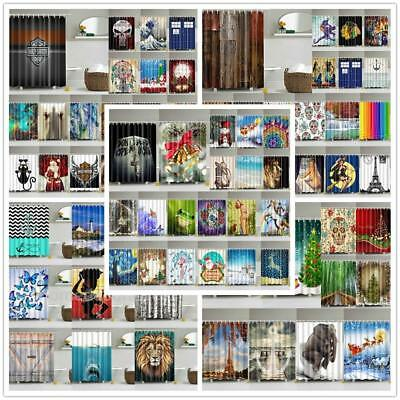 Various Shower Curtain 3D Print Waterproof Polyester Bath Curtain Drape 12 Hooks