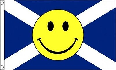 SCOTLAND SMILEY FACE FLAG 5' x 3' St Andrews Cross Scottish Happy Face Festival