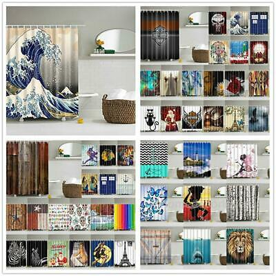 Various Print Shower Curtain 180x180cm Bathroom Waterproof Drapes with 12 HOOKS