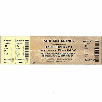 PAUL McCARTNEY Concert Ticket Stub LAS VEGAS NV 6/9/11 MGM GRAND GARDEN BEATLES