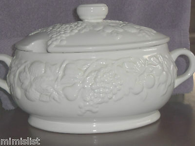 Soup Tureen-White-Oval-Warm Soup/Cold Day-Serving Dish-Glass-Solid
