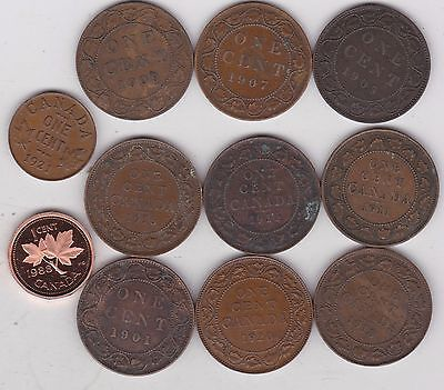 11 Canada 1901 To 1988 One Cent Coins In Fine Or Better Condition