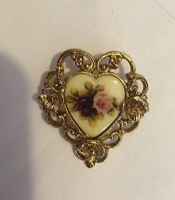 Vintage Victorian Floral Brooch Pin Clip Earring Set GoldTone Cameo Style