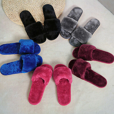 Cute Womens Fashion Fur Furry Slippers Shoes Winter Home Indoor Casual Warm Flat
