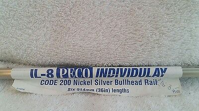"Peco IL-8 Code 200 Nickel Silver Bullhead Rail Pk of 6 x 36"" (914mm) lengths"