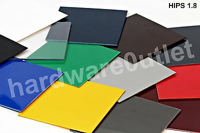 HIPS High Impact Polystyrene Plastic Sheet 12 Colours & 18 Guillotine Cut Sizes