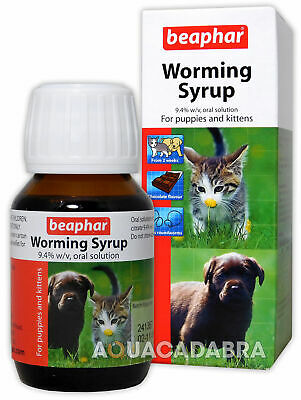 Beaphar Worming Syrup For Puppies & Kittens Dog Cat Pet Worms Pump Dispenser