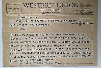 Vintage- WESTERN UNION TELEGRAM-MGM- 1960 +