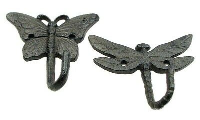 Butterfly & Dragonfly Cast Iron Mounted Wall Hooks Hanging Home Decor NEW
