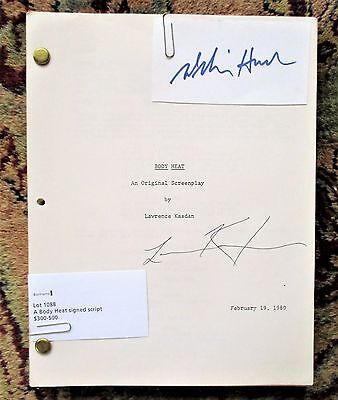 BODY HEAT ORIGINAL SCREENPLAY SIGNED by LAWRENCE KASDAN & WILLIAM HURT 1980