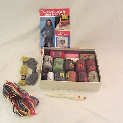 Lot Punch Embroidery Purr-fect Punch Thread, Punch & Guide - New/Partial Spools