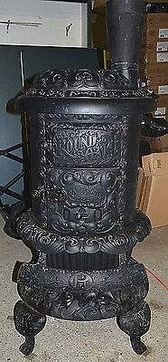 Victorian Round Oak Cast Iron Wood Stove By P.D. Beckwith Door Model E18 Vintage