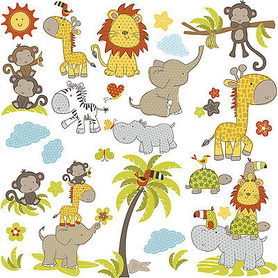 JUNGLE BABIES WALL DECALS 31 Big Baby Animals Stickers Lions Elephants Monkeys