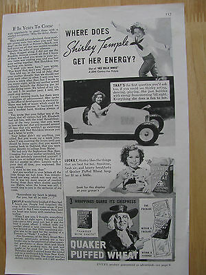 0870 Magazine Ad: Shirley Temple Quaker Puffed Wheat Cereal Pedal Car 1937