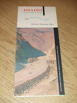 VINTAGE 1961 OFFICIAL Idaho State Highway Road Map Lewiston Pocatello Twin Falls