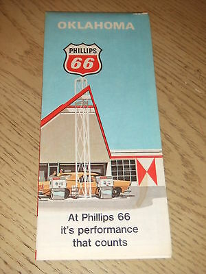 VINTAGE 1970 Phillips 66 Gas Oil Oklahoma State Highway Road Map Muskogee Texoma