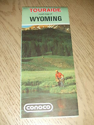 VINTAGE 1972 Conoco Oil Gas Wyoming State Highway Road Map Touraide Cheyenne WY