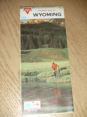VINTAGE 1968 Conoco Oil Gas Wyoming State Highway Road Map Touraide Cheyenne WY