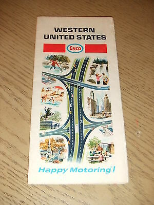 VINTAGE 1968 Enco Humble Oil Western United States Highway Road Map Guide USA