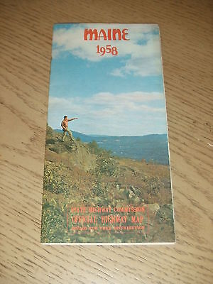 VINTAGE 1958 OFFICIAL Maine State Highway Map Rumford Belfast Rockland Houlton
