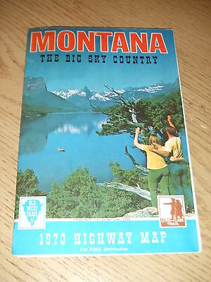 VINTAGE 1970 OFFICIAL Montana State Highway Road Map Great Falls Billings Helena