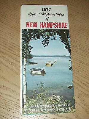 VINTAGE 1977 OFFICIAL New Hampshire State Highway Road Map Nashua Manchester NH