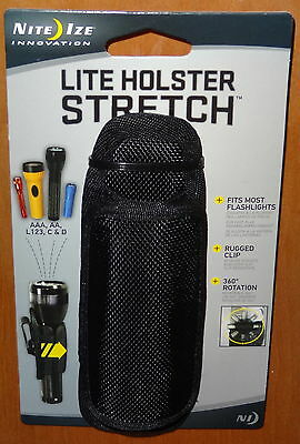 POLICE UNIVERSAL FLASHLIGHT STRETCH HOLSTER POUCH with ROTATING CLIP NITE IZE