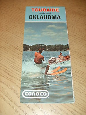 VINTAGE 1971 Conoco Oil Gas Oklahoma State Highway Road Map Touraide Guide OK