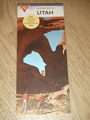 VINTAGE 1967 Conoco Oil Gas Utah State Highway Road Map Touraide Bryce Zion Salt