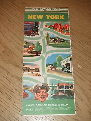 VINTAGE 1952 Cities Service Oil Gas New York State Highway Road Map Citgo Albany